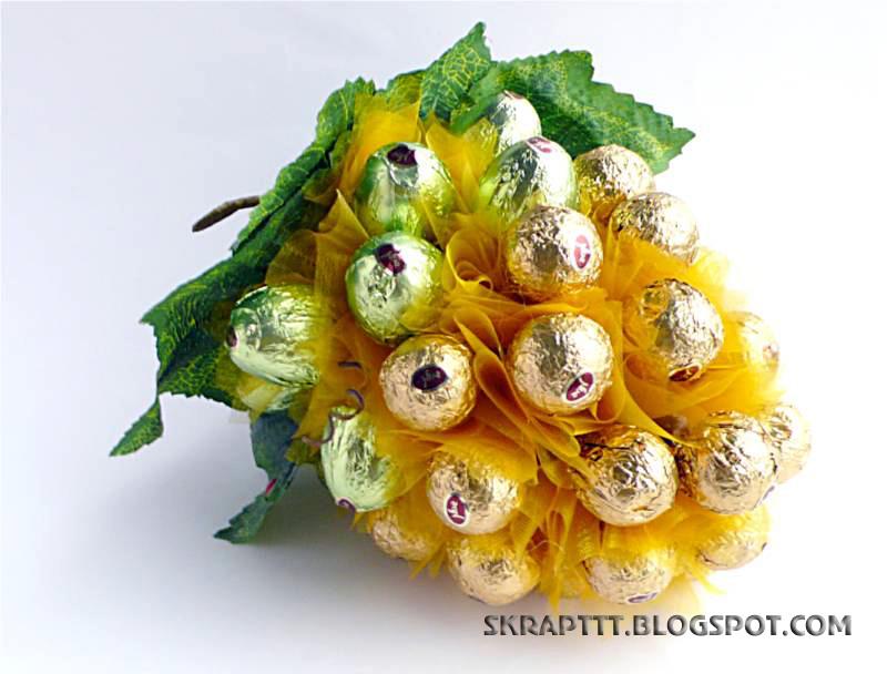 Гроздь винограда из конфет - 9d