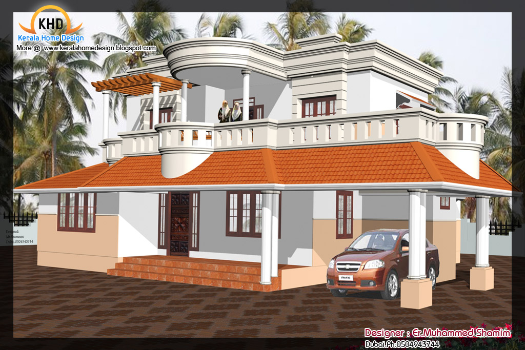 Home elevation design in 3D - Kerala home design and floor plans