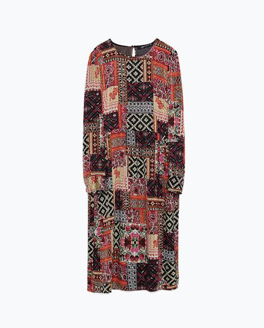 vestido estampado midi zara