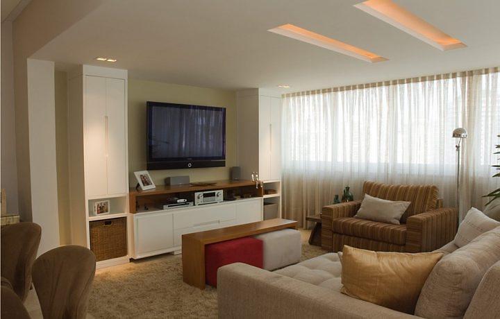 Ver Fotos De Sala De Tv ~ Cores Bege, laranja, verde, amarelo, marrom, neste ambiente além do