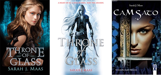 Celaena Sardothien on covers for different editions of Throne of Glass by Sarah J. Maas