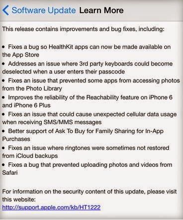 iOS 8.0.1 released fix bugs