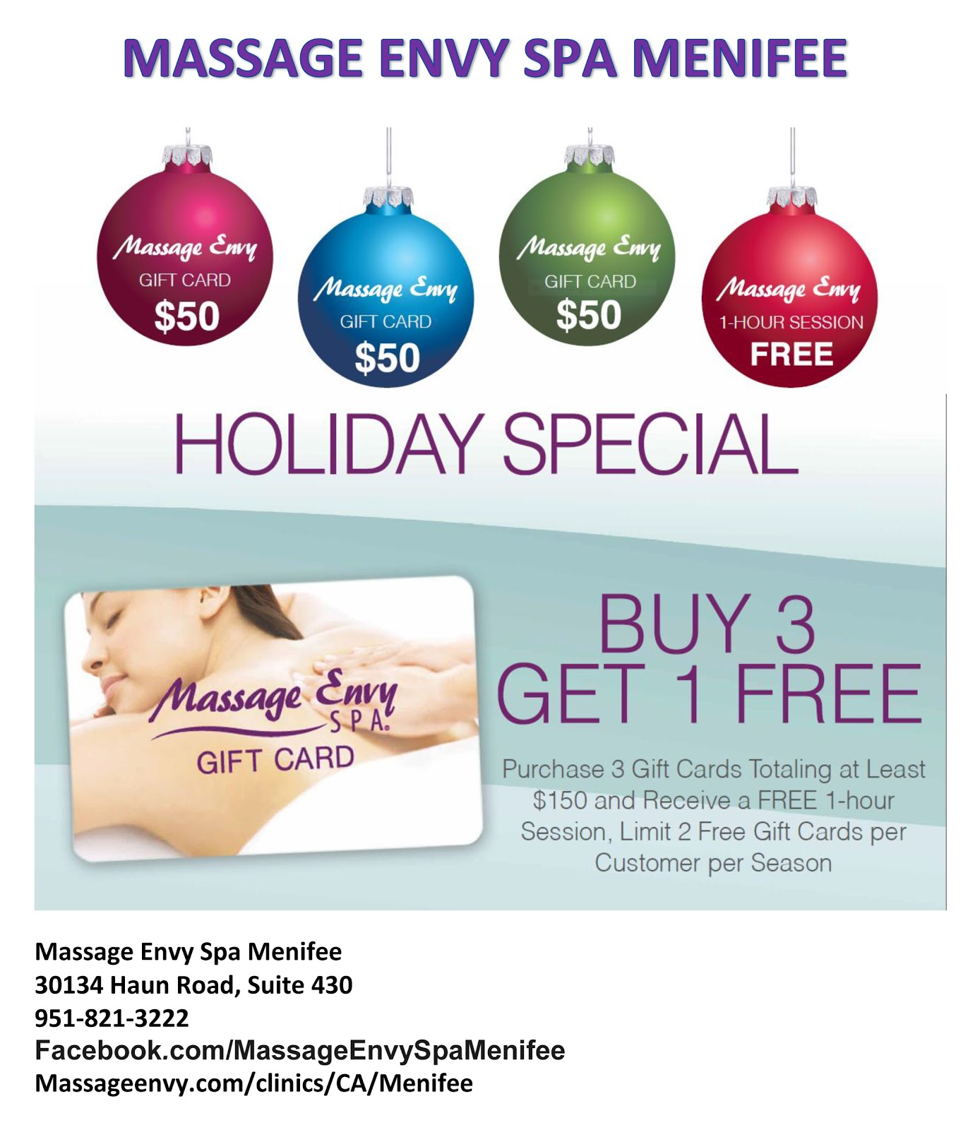Holiday gift card special at massage envy spa menifee for 12 days of christmas salon specials