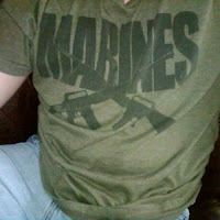 Michael McIntyre, t-shirt, Marines, school