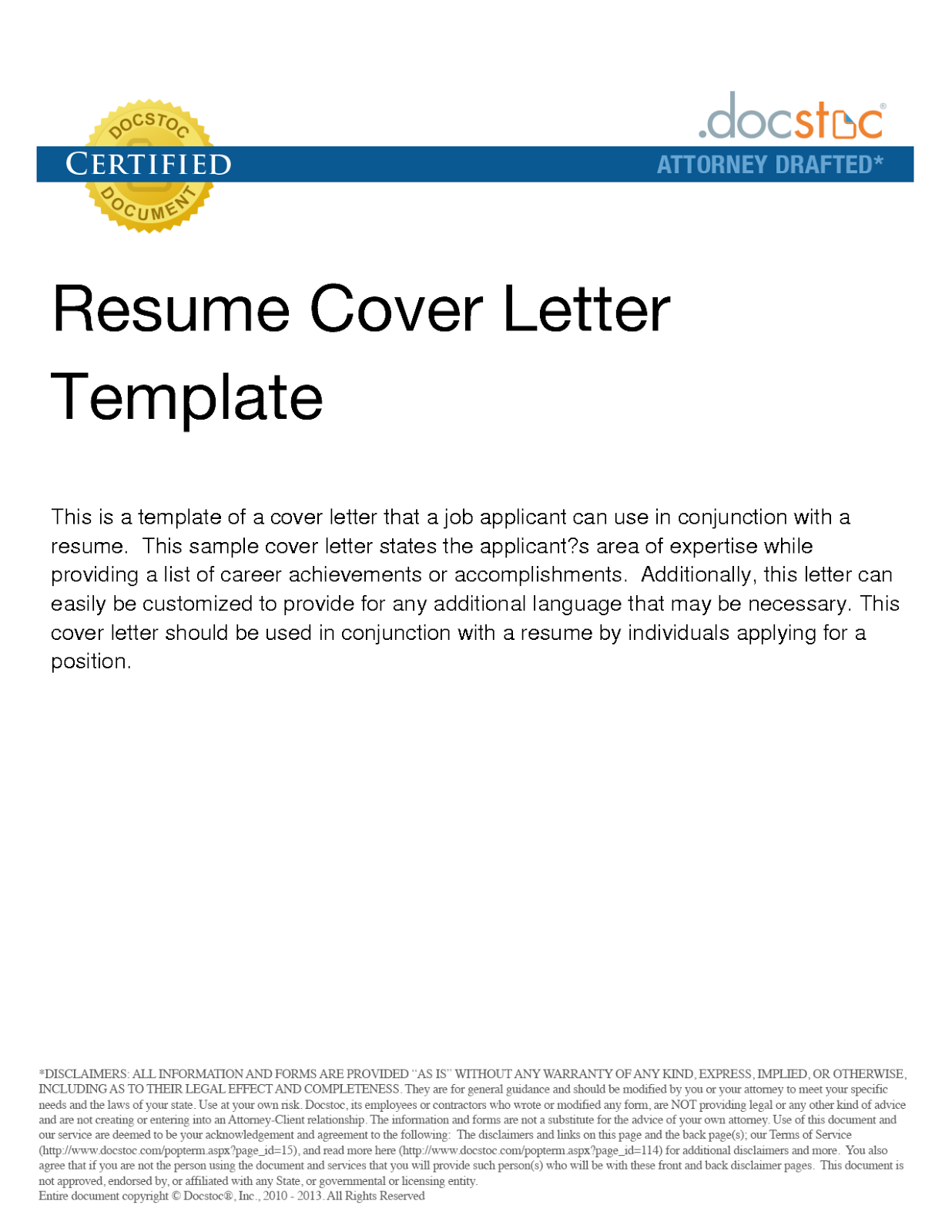 template of a cover page for resume