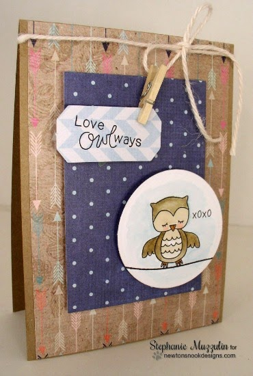Love Owl-ways card by Stephanie Muzzulin | Sweetheart Tails Stamp set by Newton's Nook Designs