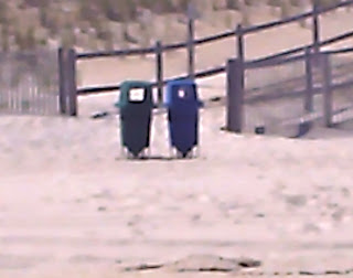 easily accessible trash & recycling can at the beach