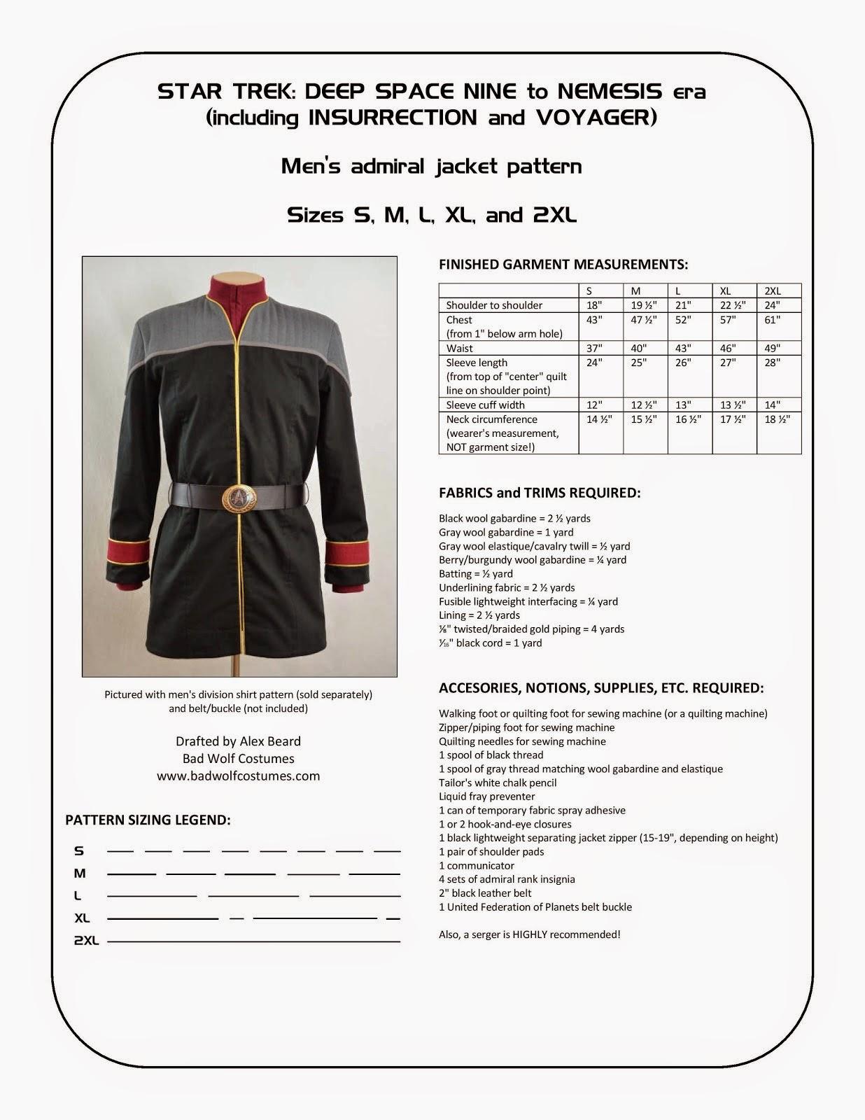 Star Trek: DS9/NEM Men's Admiral Jacket Sewing Pattern
