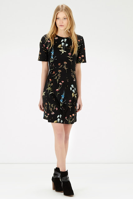 black multi colour print dress, warehouse black floral print dress,