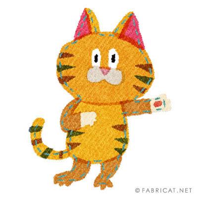 踊るかわいいトラ猫のイラスト