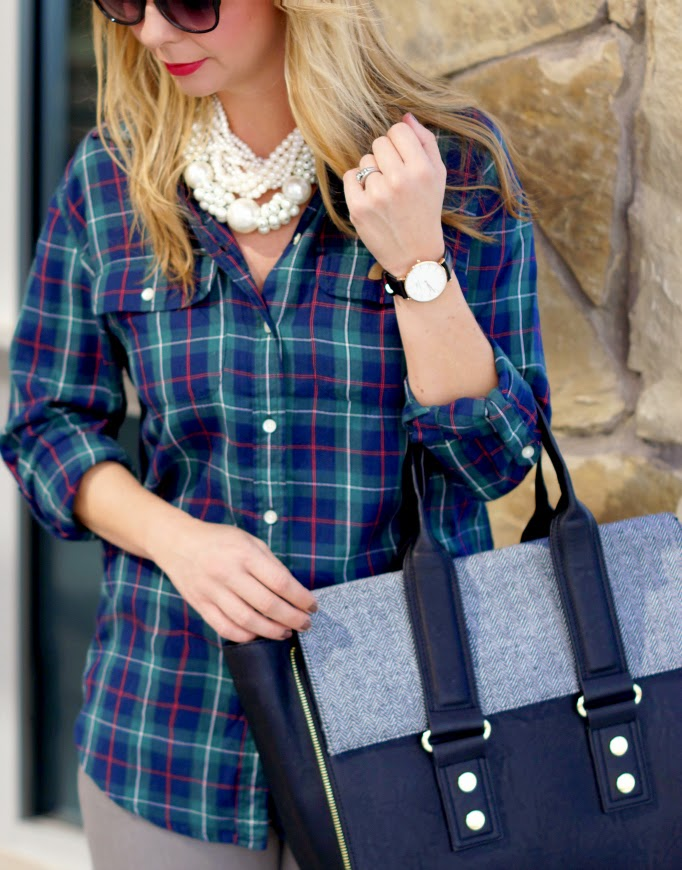 Plaid pearls and danile wellington watch