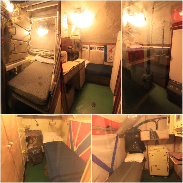 High ranking officers sleep in these individual and cramped bedrooms while the crews share bunk beds among themselves in Russian Scorpion Submarine at Long Beach, Los Angeles, California, USA