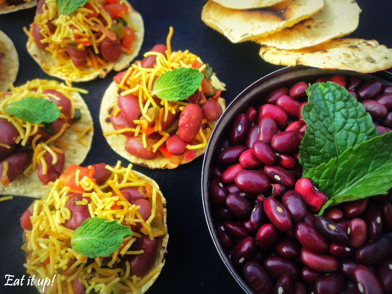 Your healthy yet yummy Papad Canopies with Rajma Salsa is ready.Grab a papad disc and Eat it up!) & Eat it up!: Papad Canopies with Rajma Salsa