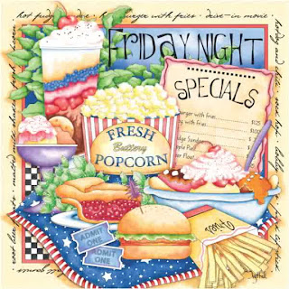 una cena con hamburguesas, palomitas y helados