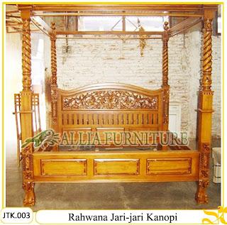 Tempat Tidur Kanopi Kayu Jati Ukiran Rahwana jari-jari Jakarta