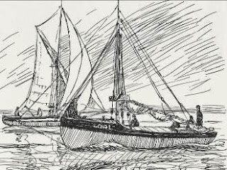 Sketch drawing from John Leather's wonderful book, Smacks and Bawleys, depicting Endeavour motoring with another cockler under sail.