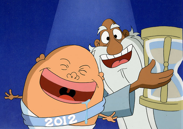 and finally heres tom rueggers picture of a happy father time with a crying egghead baby new year