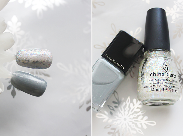 holiday nail polish glitter top coats combination china glaze snow globe
