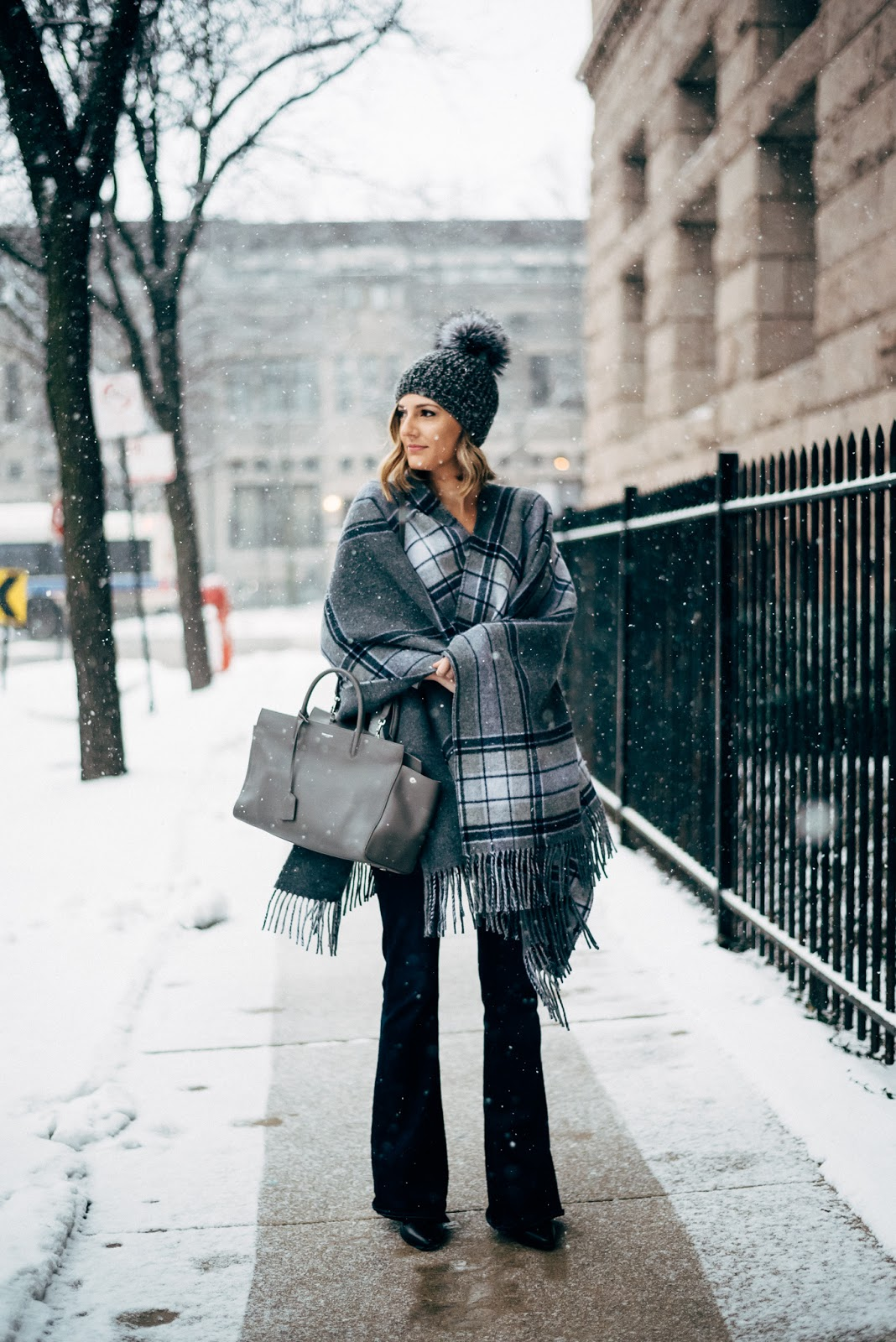 winter poncho outfit