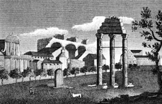 """Campo Vaccino"" - the Roman Forum  from A New Picture of Rome by Marien Vasi (1824)"