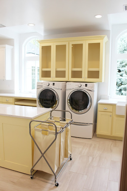 Home tour: Laundry room with yellow cabinets