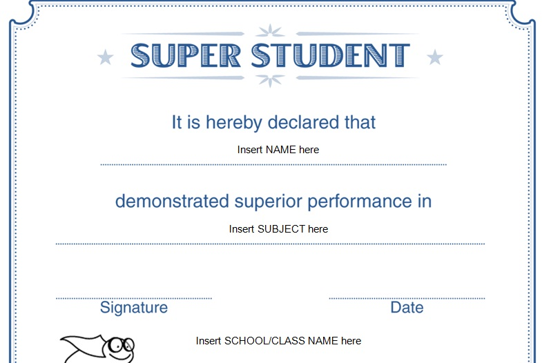 Beautiful super student certificate design template 2015 for Student certificate templates for word