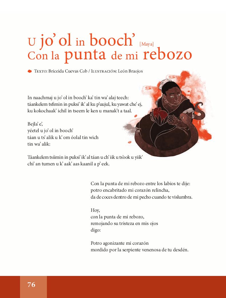 U jo' ol in booch / Con la punta de mi rebozo - Español Lecturas 6to 2014-2015