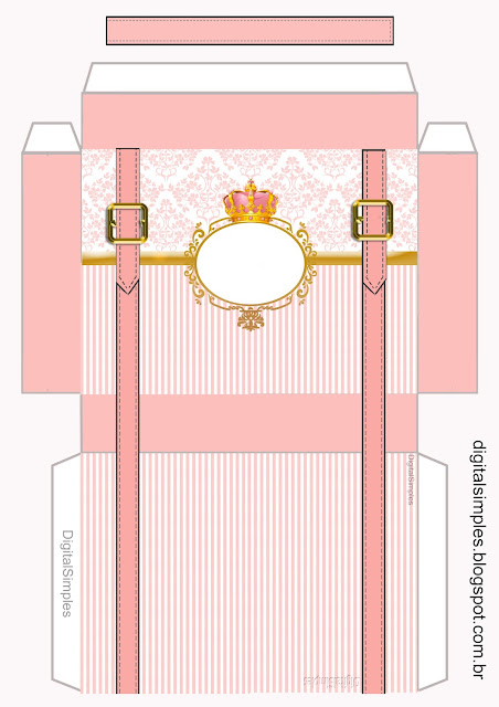 Gold and Pink Crown: Free Printable Suitcase Favor Box.