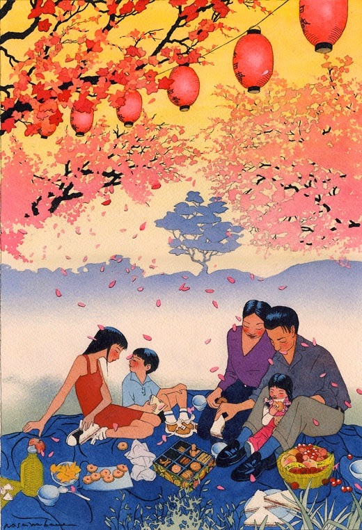 illustration of a family having a picnic by Yan Nascimbene