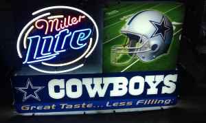 Dallas Cowboys Classifieds Buy Sell Trade Memorabilia T #0: 1 Dallas Cowboys Miller Lite Neon Sign 0001