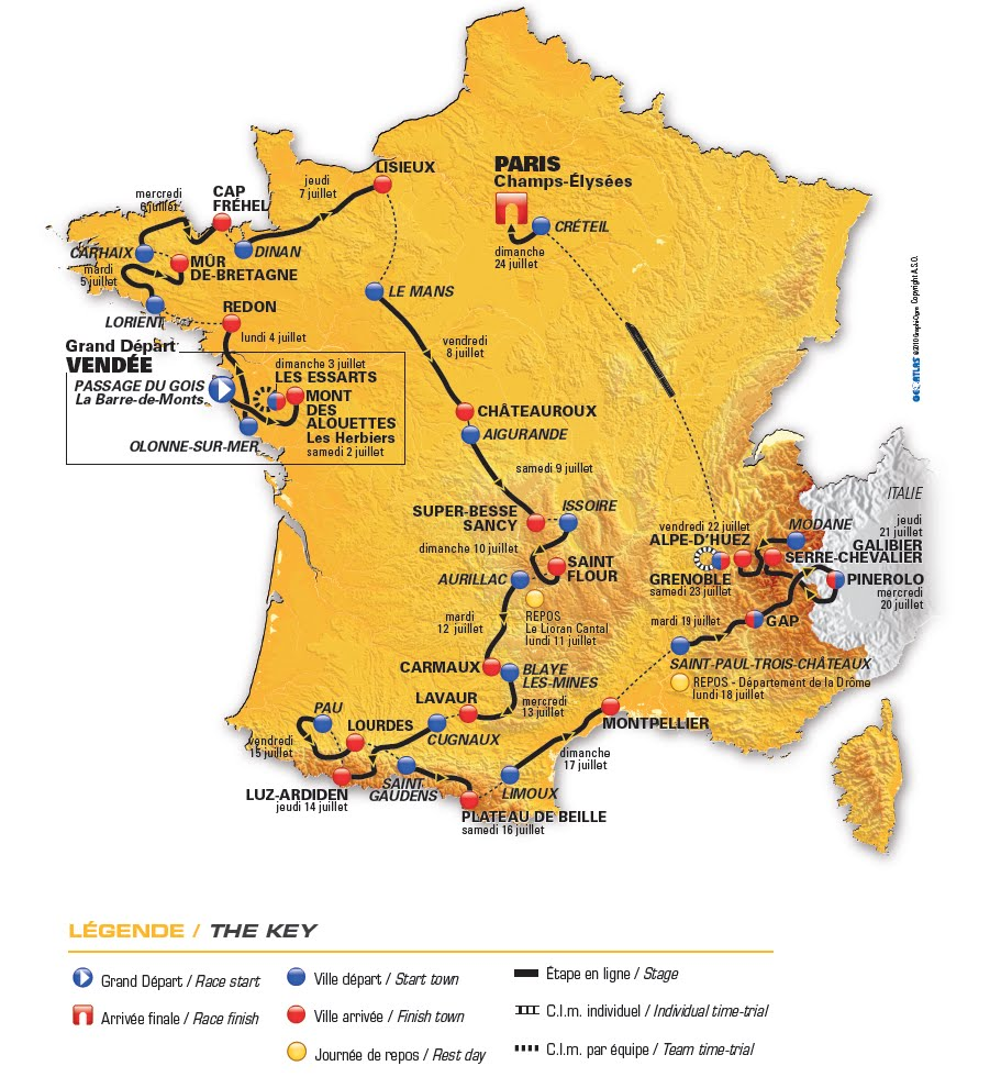 2011 Tour de France Stage Map (click on map to go to letour.fr homepage)