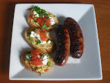 Grilled Sausages with Tomato-Chickpea Crostini