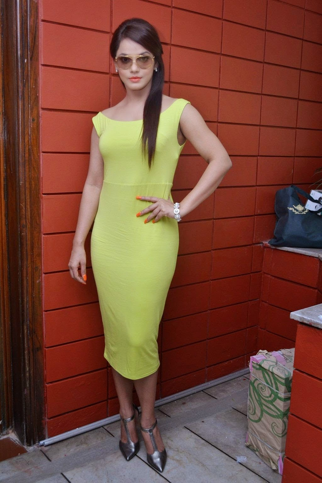 2015 : Neetu Chandra Hot Pics : Neetu Chandra Looks Very Hot & Sexy In Her Green Gown at Press Meet .