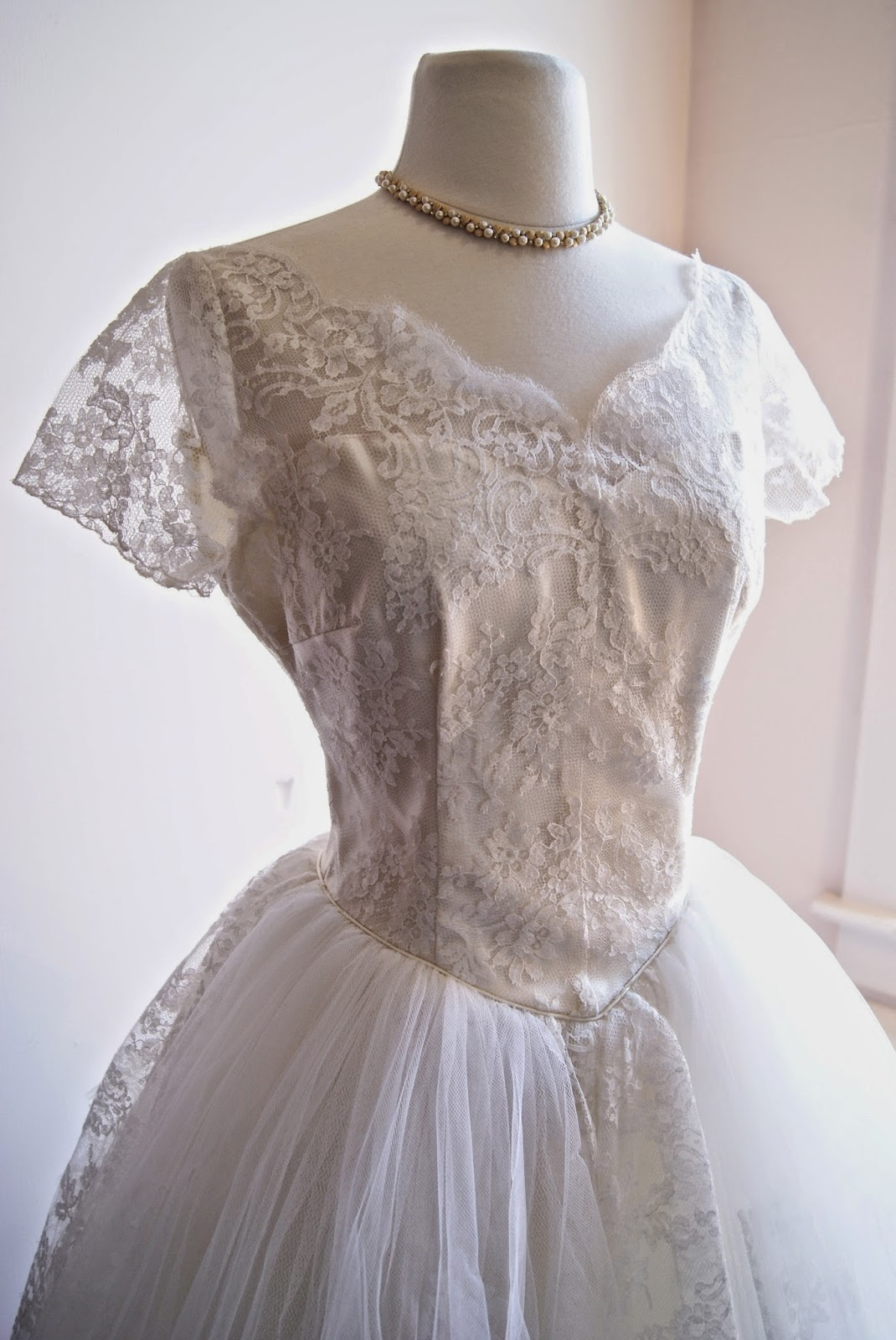 1950s Chantilly Lace Tea Length Wedding Dress Available In The Bridal Salon And Our Etsy Store