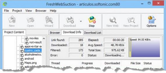 FreshWebSuction, la solución para bajar webs completas