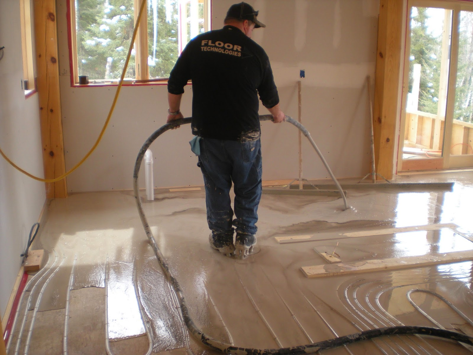 Gypcrete, over, pour, in-floor, heat, timber, frame, cabin, huisman, ely