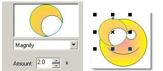 hiệu ứng phóng to thu nhỏ đối tượng bên dưới kính lọc