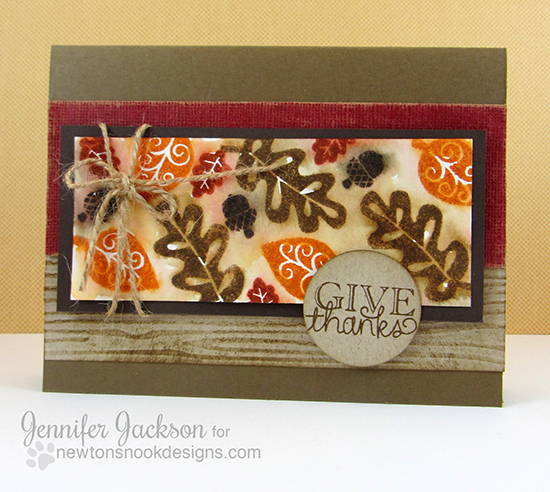 Give Thanks card by Jennifer Jackson for Newton's Nook Designs | Falling into Autumn Stamp set