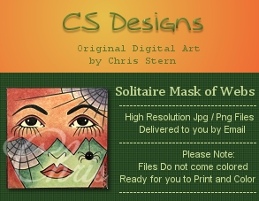 Solitaire Mask of webs digital digi stamp