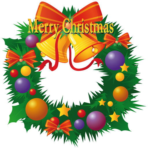 Merry Christmas Lettering On Decorated Wreath Clip Art Image