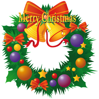 Merry Christmas lettering on decorated Christmas wreath clip art image with baubles and bells free download wallpaper