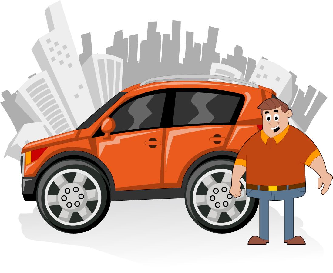 自動車で街をドライブするお父さん vehicles cars city silhouette middle-aged イラスト素材