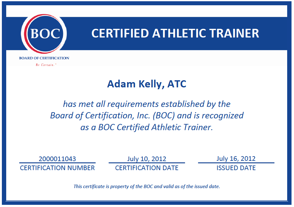 the qualification and training to being an athletic trainer