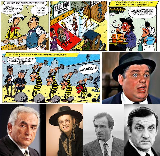Diverse karikaturer i Onklene Dalton