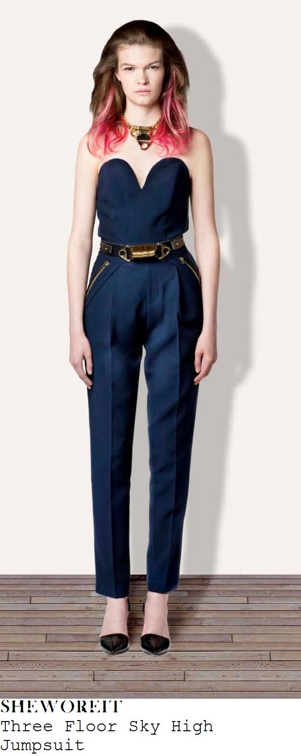 alesha-dixon-navy-blue-strapless-sweetheart-neckline-tailored-zip-detail-jumpsuit-britains-got-talent-auditions-belfast