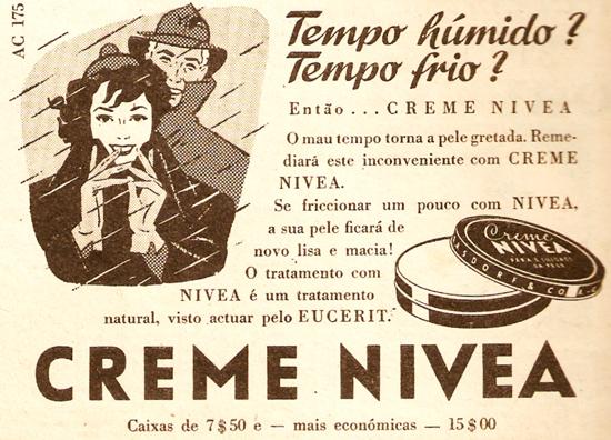 Propaganda do Creme Nívea para climas frios e úmidos. Propaganda dos anos 30.