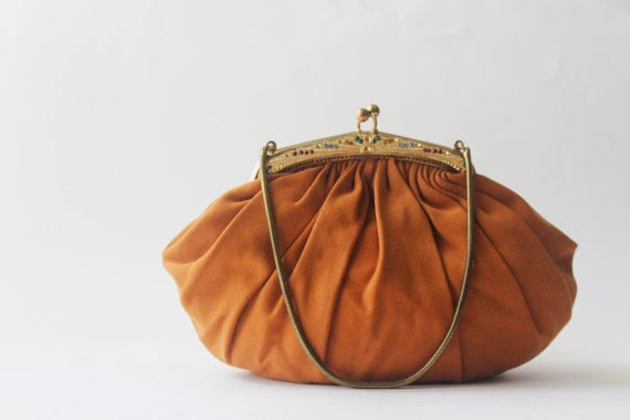 orange satin evening bag