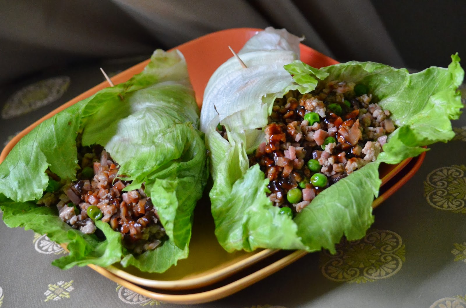 Asian Lettuce Wraps spam pork mushroom peas
