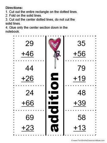 Fern Smith's Classroom Ideas  FREE Valentines Day Two Digit By Two Digit Addition Center, Interactive Notebook Activity & Printable at TeacherspayTeachers.