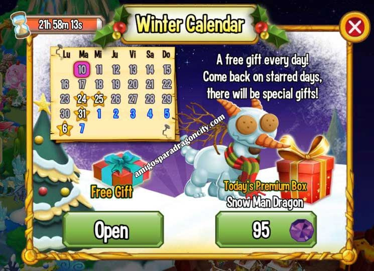 imagen del winter calendar de dragon city ios